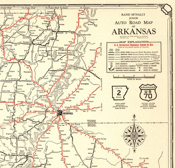 1932 Antique ARKANSAS State Map Vintage Large Arkansas Road Map Gallery  Wall Art Anniversary Gift for Wedding Birthday 9675