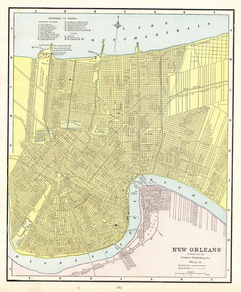 Antique New Orleans Map.1888 Antique New Orleans Map Vintage Map Of New Orleans Louisiana Gallery Wall Art Anniversary Gift For Wedding Birthday Housewarming 9127