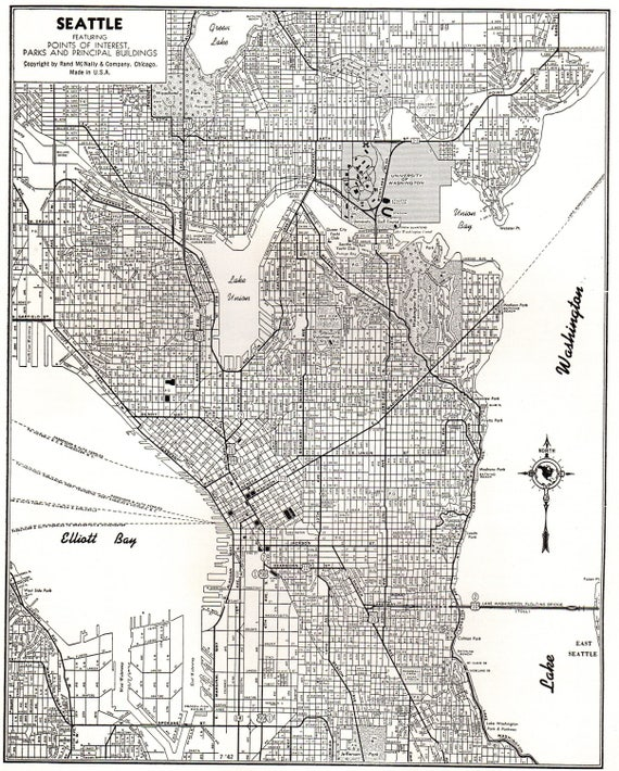 1942 Vintage SEATTLE Washington Map of Seattle Black and White Gallery Wall  Home Decor Gift for Traveler Wedding Birthday 7311