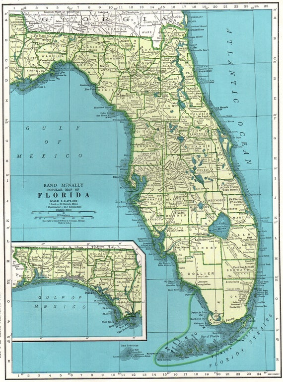 Vintage Florida Map.1942 Vintage Florida Map Antique State Map Of Florida Print Etsy