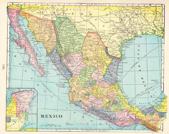 Baja California Map Mexico.1903 Antique Mexico Map Vintage Baja California Map Gallery Etsy