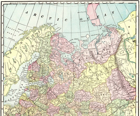 1900 Antique Russia Map Collectible Vintage Map Of Russia Etsy
