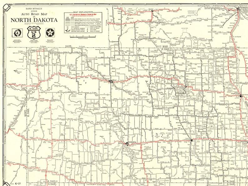 1930 Rare Size Antique NORTH DAKOTA State Map Vintage Map of | Etsy