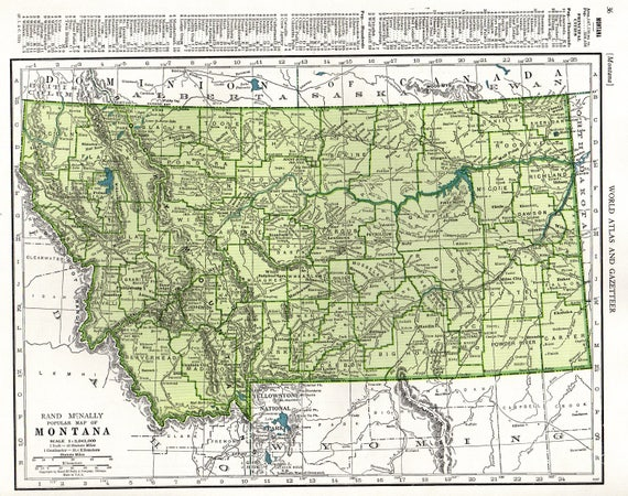 1947 Antique MONTANA State MAP Vintage Map of Montana Gallery Wall Art Home  Decor Housewarming Gift For Wedding Birthday Anniversary 10382