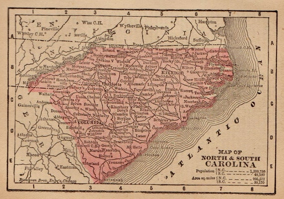 North South Carolina Map.1890 Antique North Carolina And South Carolina Map Miniature Etsy
