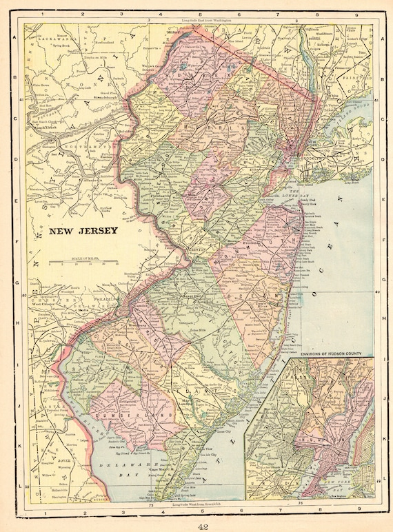 1898 Antique NEW JERSEY Map of New Jersey State Map Gallery Wall Art  Library Decor Anniversary Gift For Birthday Wedding 8558