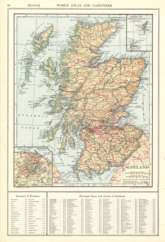 1907 Antique Scotland Map Vintage Map Of Scotland Gallery Wall Etsy