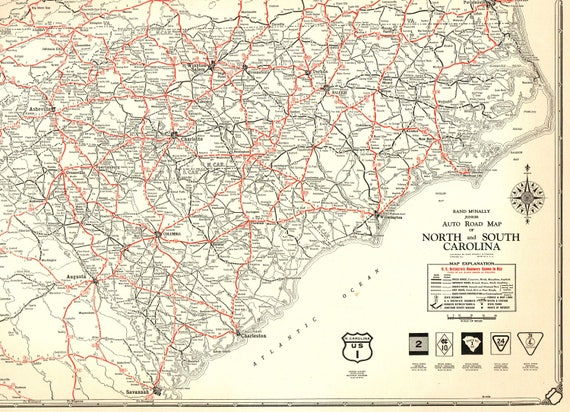 1932 Rare Size Antique North Carolina Map Vintage South   Etsy