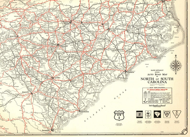 North South Carolina Map.1932 Rare Size Antique North Carolina Map Vintage South Etsy