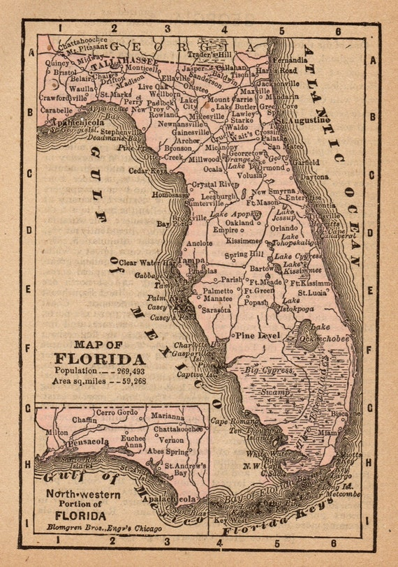 1888 Antique Florida State Map Vintage Map Of Florida Gallery Wall Art Miniature Map Wedding Gift For Anniversary Birthday 9575