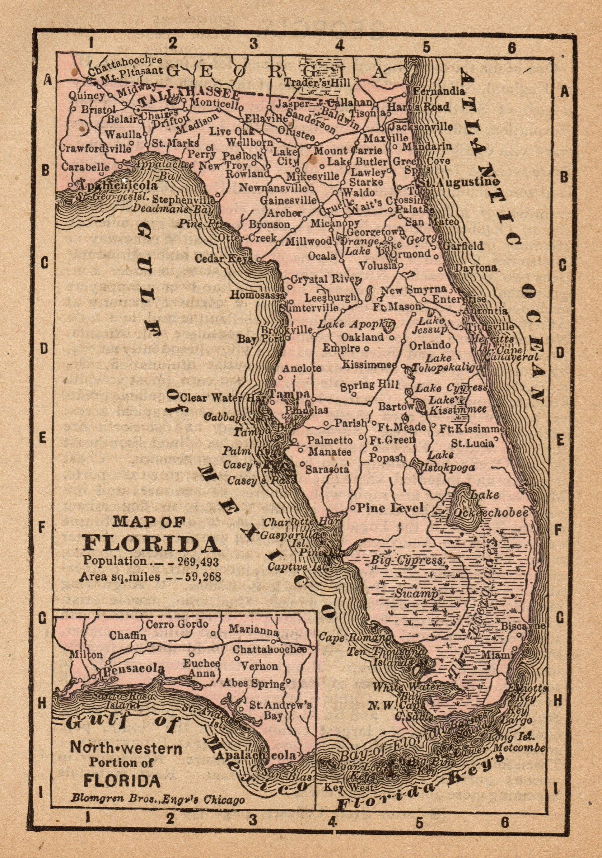 1888 Antique Florida State Map Vintage Map Of Florida Gallery Etsy