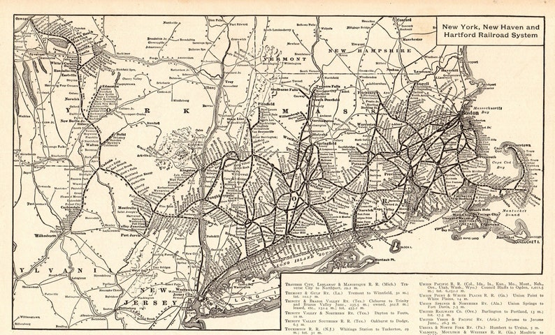 1911 Antique New York New Haven Hartford Railroad Map Gallery Etsy