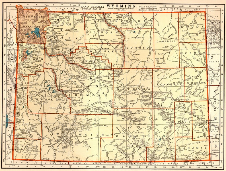 1939 Antique WYOMING State Map of Wyoming Gallery Wall Art | Etsy