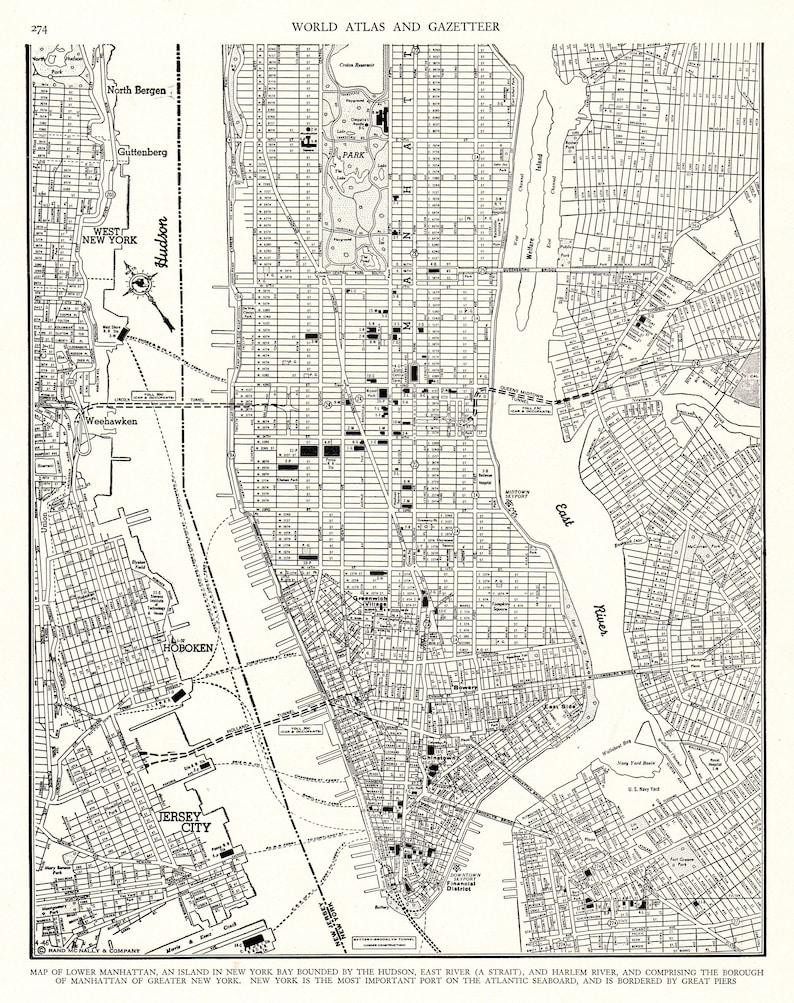 03985dfb06c64 1946 Antique MANHATTAN Map Vintage New York City Map Print   Etsy