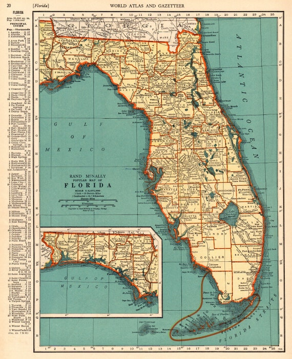 1937 Antique FLORIDA Map Vintage State Map of Florida Gallery Wall on old st. augustine florida map, orlando florida map, florida map with exit numbers, central fl road map, daytona beach florida map, i 95 sc map, florida expressway map, florida schools map, south florida map, florida local map, florida empire map, florida map i-95, i 75 fl map, florida turnpike map, jacksonville florida map, florida route map, florida general map, florida map mileage, florida map location of dunes, florida oregon map,