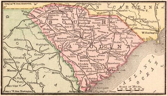 1900 Antique SOUTH CAROLINA Map of South Carolina State Map Miniature on virgina map, quebec map, georgia map, arizona map, manitoba map, nova scotia map, guam map, n dakota map, munich s-bahn map, clemson map, north dakota map, ohio map, miami map, district of columbia map, minnesota map, conn map, iowa map, houston map, nc state map, central fl map,