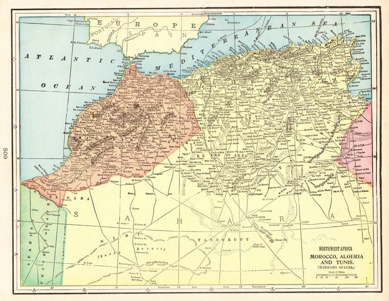 1901 Antique Africa Map MOROCCO Map ALGERIA Map Tunisia Africa | Etsy