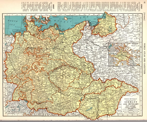 1940 vintage map of germany and hungary map gallery wall etsy 1940 vintage map of germany and hungary map gallery wall travel decor gift for birthday wedding graduation travel 8194 gumiabroncs Images