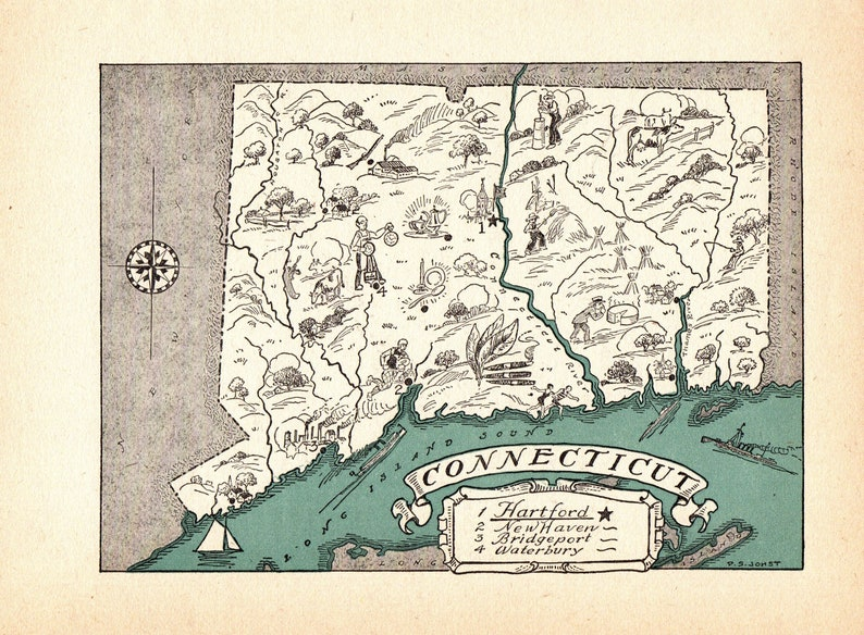 1930s Antique Animated Connecticut State Map Blue Cartoon Map Wall Art Housewarming Gift for Anniversary Wedding Birthday 10551