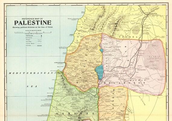 Repro Vintage Antique Old Color Map of Palestine Jordan Israel Middle East Gaza