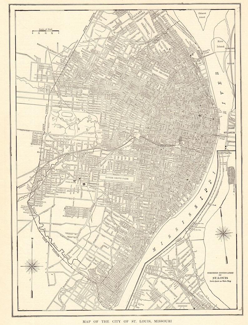 1914 Antik ST LOUIS MAP Vintage Stadtplan von St. Louis und | Etsy