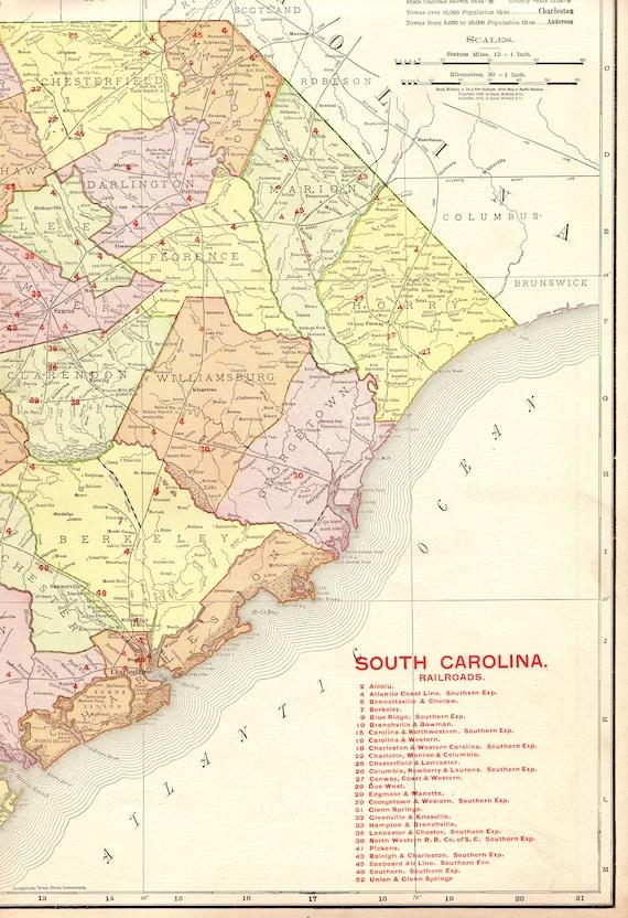 Columbus South Carolina Map.1908 Rare Size Antique South Carolina Map Poster Print W Etsy