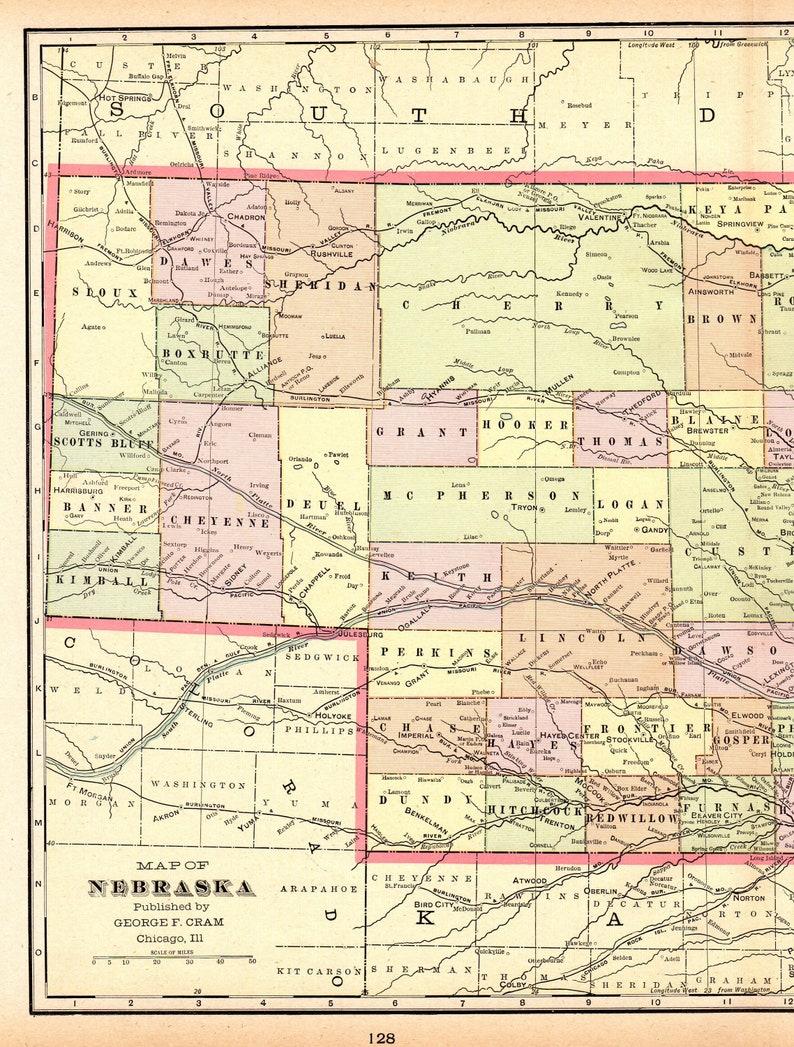 1901 Antique NEBRASKA Map Vintage State Map of Nebraska | Etsy