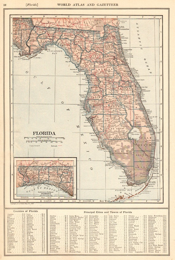 State Of Florida Map With Cities.Antique Florida Map 1917 Vintage State Map Of Florida Gallery Wall Art Gift For Birthday Wedding Anniversary Teacher Graduation 9997