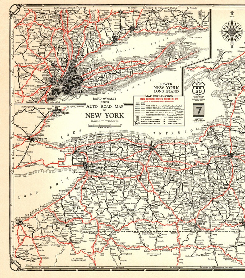 1932 Antique NEW YORK State Map of New York Poster Size Road Map Gallery  Wall Art Wedding Gift for Birthday Anniversary 6698