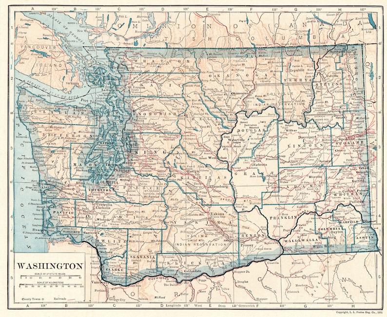 1924 Antique WASHINGTON State Map Vintage Map of Washington Gallery Wall  Art Decor Housewarming Gift for Birthday Wedding Anniversary 9854