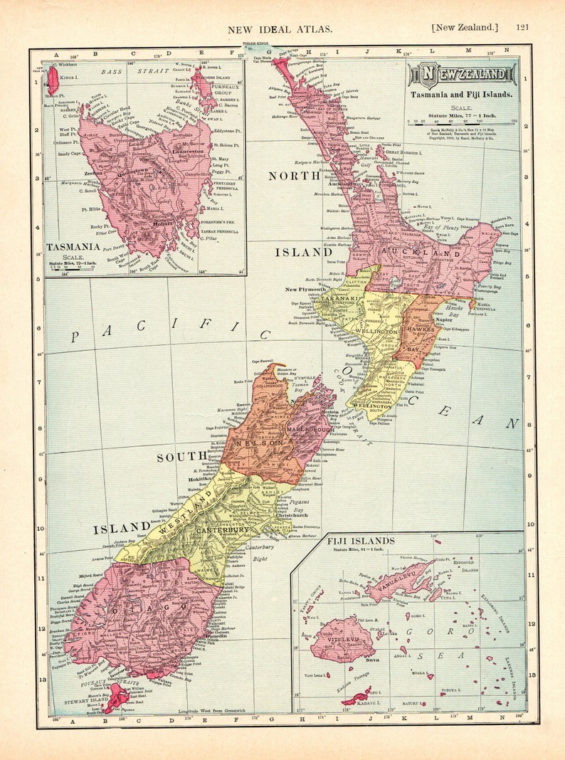 1913 Antique NEW ZEALAND Map Vintage Of New Zealand Over