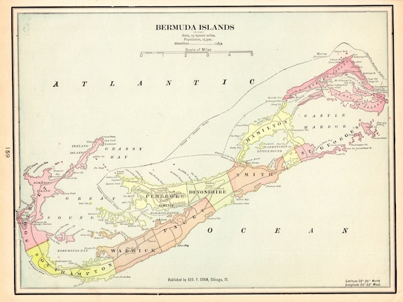 1901 Antique BERMUDA MAP of Bermuda Beach House Decor Gallery | Etsy