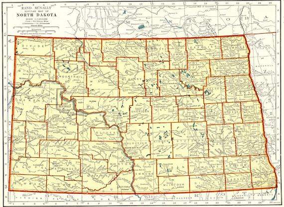 1942 Vintage NORTH DAKOTA State Map Antique Map of North | Etsy
