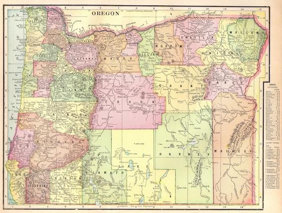 Vintage Oregon Map.1901 Antique Oregon Map Of Oregon State Map Original Oregon Etsy