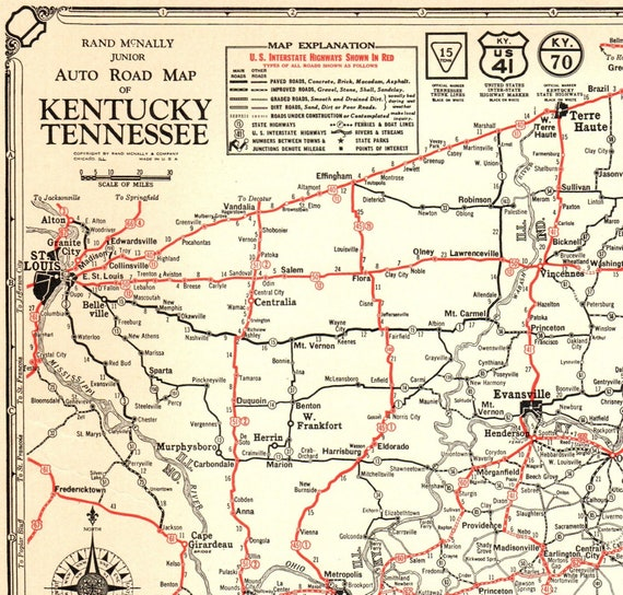 1932 Antique State Map of KENTUCKY and TENNESSEE Road Map Black and White  Wall Art Gift for Birthday Wedding Anniversary 9676