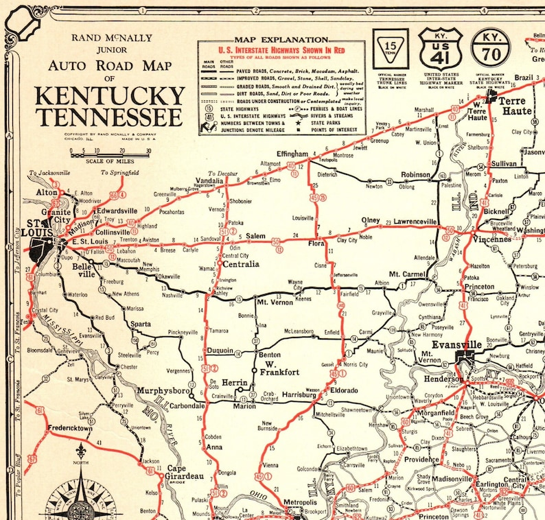 1932 RARE Antique State Map of KENTUCKY Vintage TENNESSEE Road Map Black  and White Wall Art Gift for Birthday Wedding Anniversary 9676