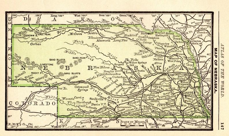 1888 Antique Nebraska Map Of Nebraska State Map Print Gallery Etsy