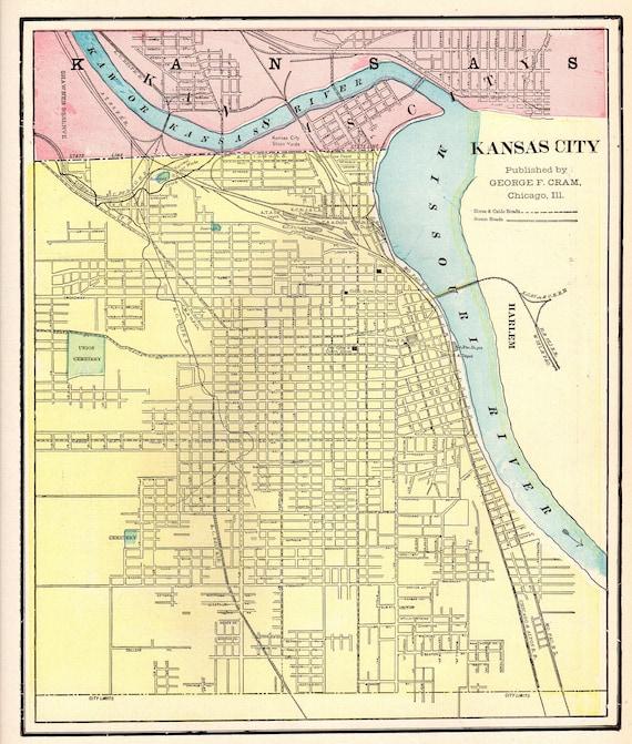 Antique KANSAS CITY Map of Kansas City 1901 Vintage City Map Gallery Wall  Art Home Office Decor Gift for Traveler 7362