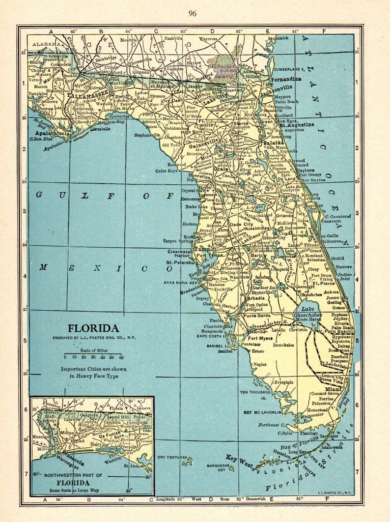 1931 Antique FLORIDA Map Vintage State Map of Florida Gallery | Etsy