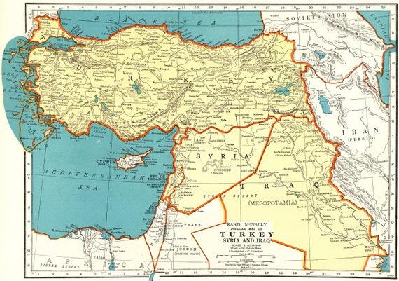 1943 Vintage Map of TURKEY Iraq Syria Map Antique Turkey Map | Etsy