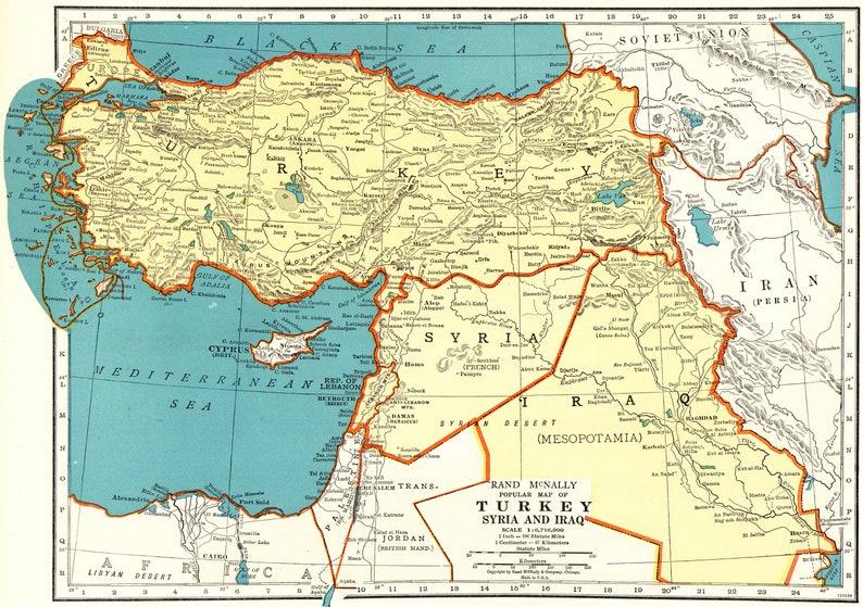 1943 Antique Map of TURKEY Iraq Syria Map Antique Turkey Map | Etsy