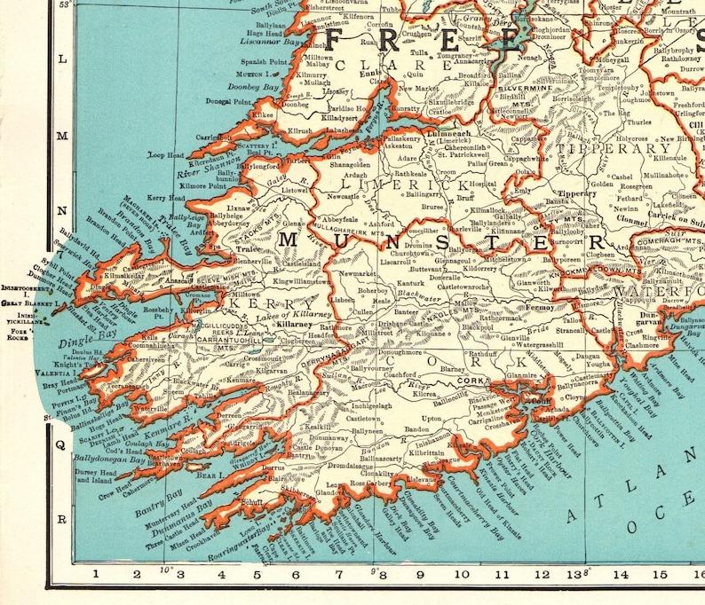 1935 Antique Ireland Map Vintage Map Of Ireland Irish Free Etsy
