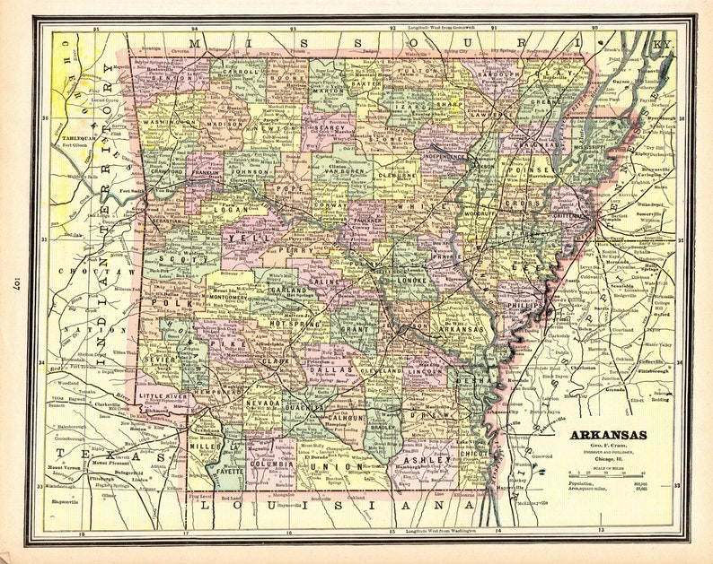 1888 Antique ARKANSAS State Map Vintage Map of Arkansas | Etsy
