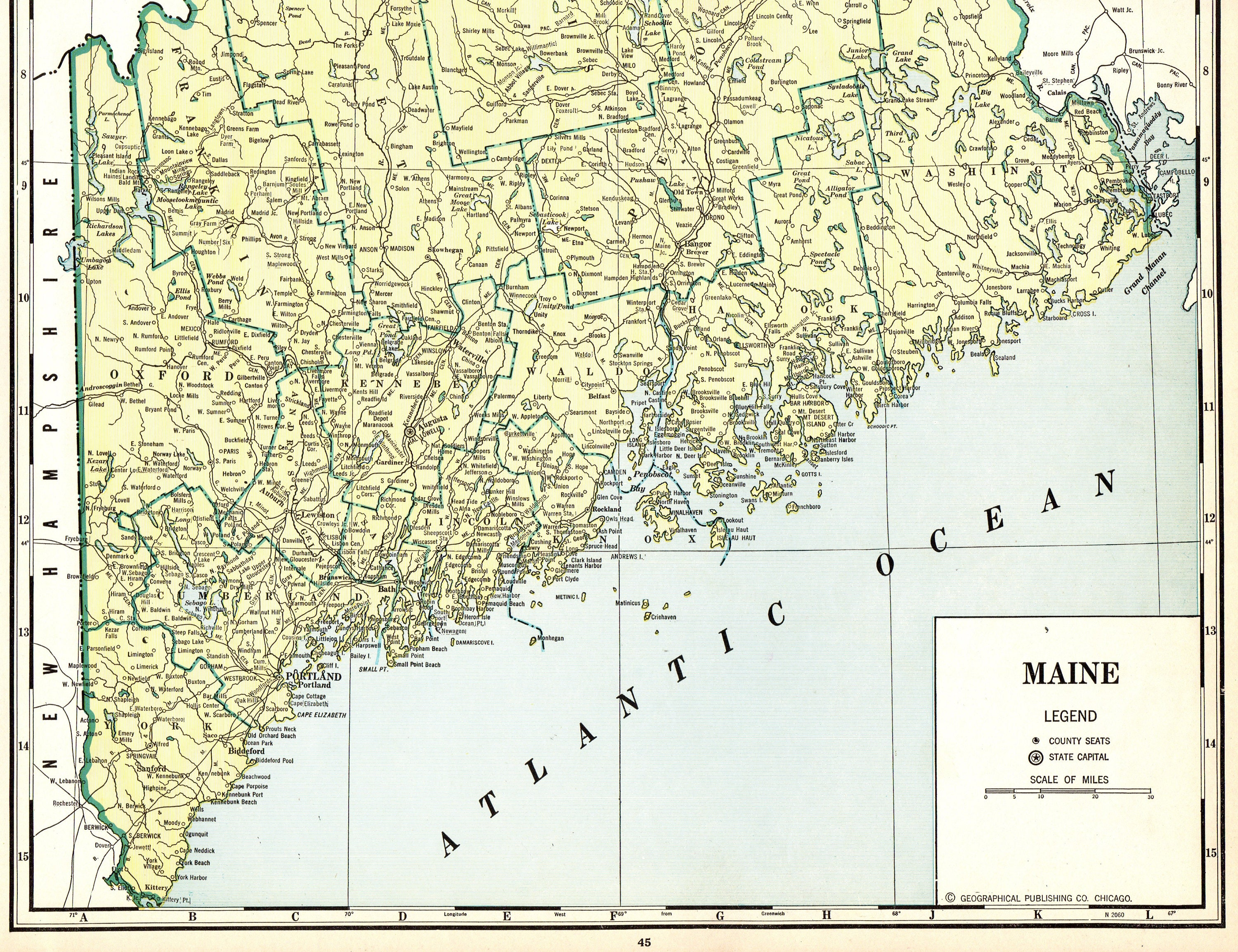Hiram Maine Map.1937 Antique Maine State Map Vintage Map Of Maine Rare Poster Etsy