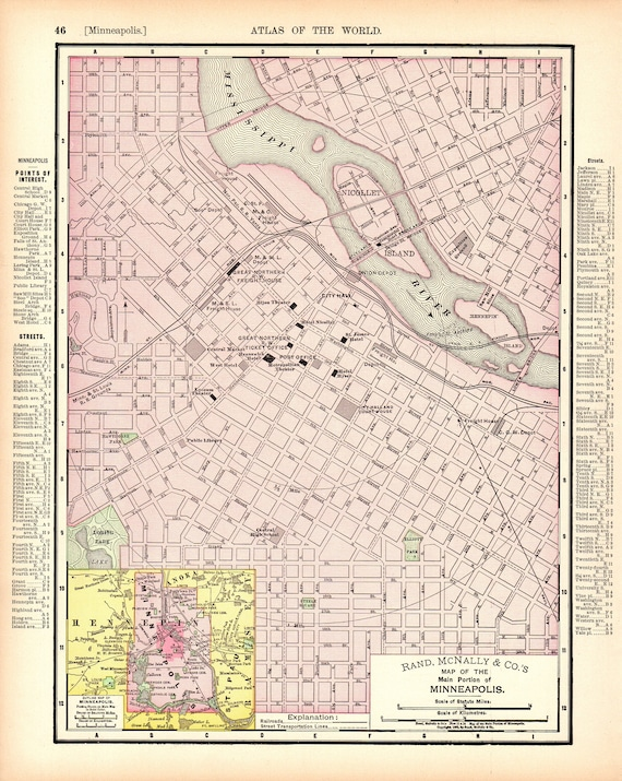 1901 Antique MINNEAPOLIS Street Map of Minneapolis City Map Gallery Wall Art Wedding Gift for Birthday Travel Graduation 11643