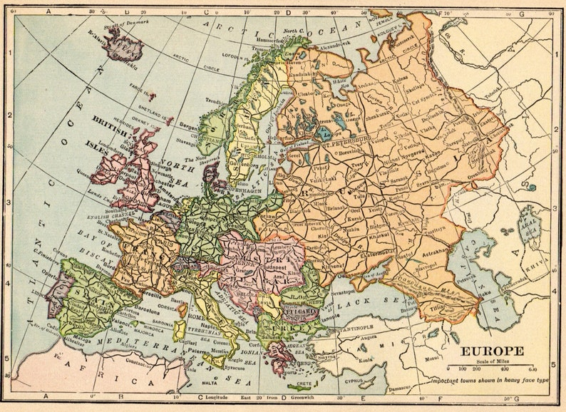 1913 Antique Europe Map Vintage Map Of Europe Gallery Wall Art Etsy