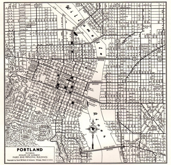 1949 Vintage PORTLAND Map of Portland Oregon Map Black and White Gallery  Wall Art Map Collector Gift for TravelerBirthday Wedding 8757