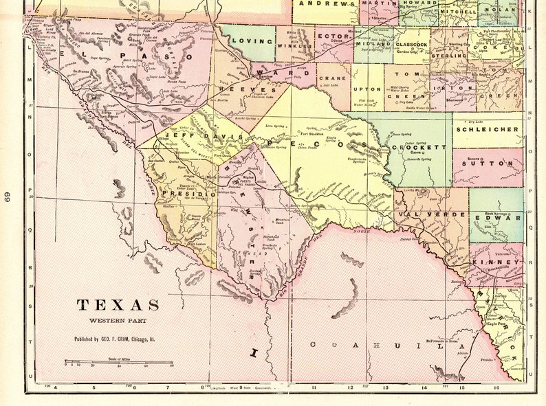 Map Of Western Texas.1901 Vintage Texas Map Of Western Texas Antique Map Travel Gallery Wall Art Office Decor Gift For Map Collector Birthday Wedding 8657