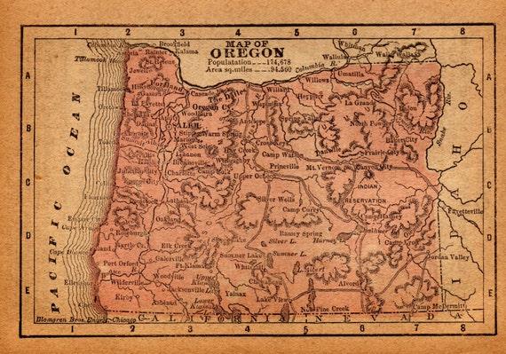 Vintage Oregon Map.Antique Oregon Map Of Oregon Antique Miniature 1889 Map Etsy