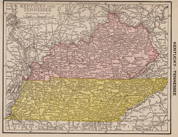 1917 Antique Tennessee Map Kentucky Map Print Miniature State Etsy